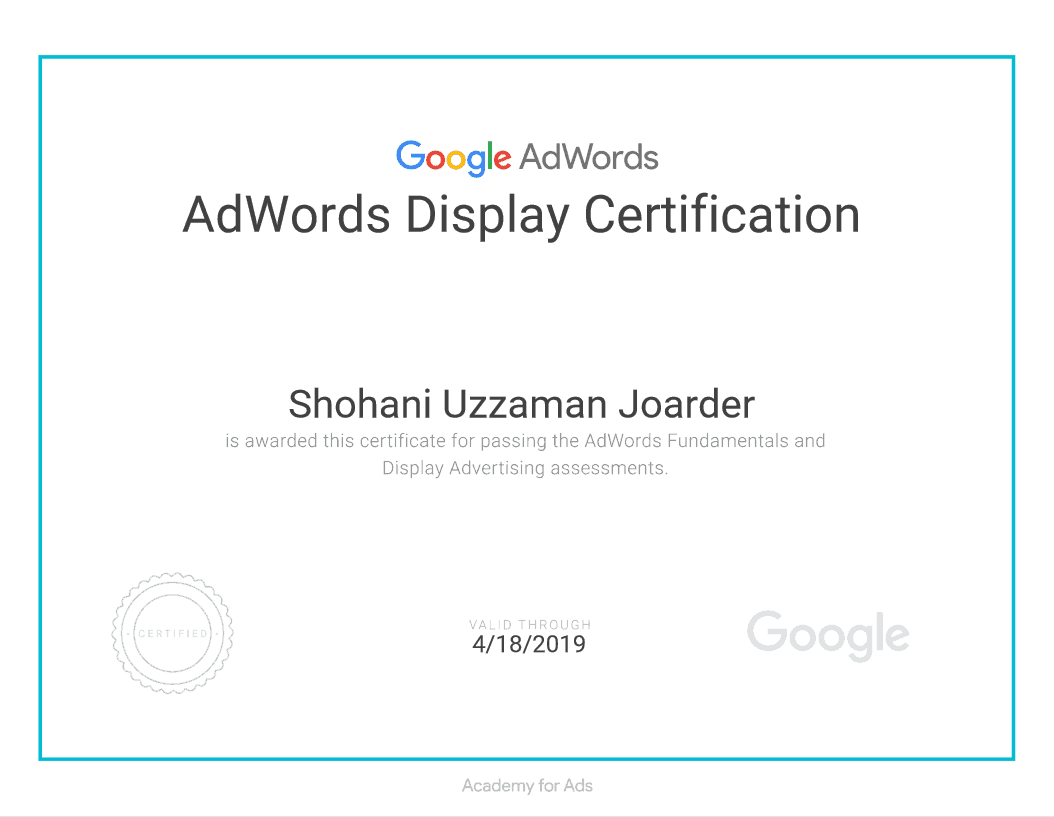 AdWords Display Advertising Certificate of Shovon Joarder