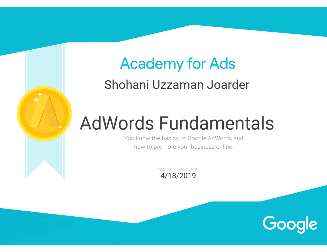 AdWords Fundamental Certificate of Shovon Joarder