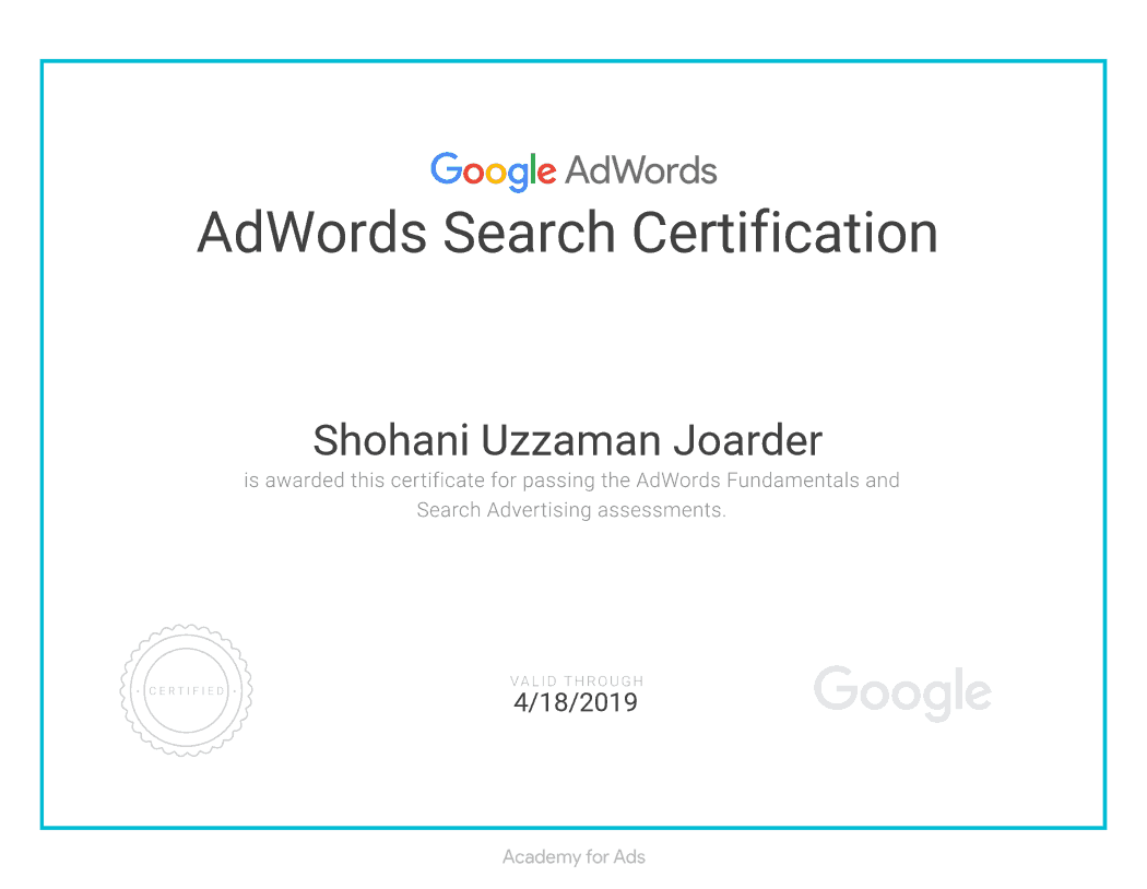 AdWords Search Certification of Shovon Joarder