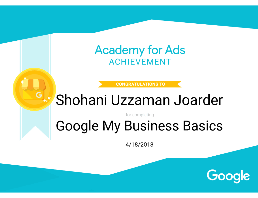 Google My Business Certificate of Shovon Joarder